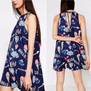 Zara Trapeze comic Dress Small